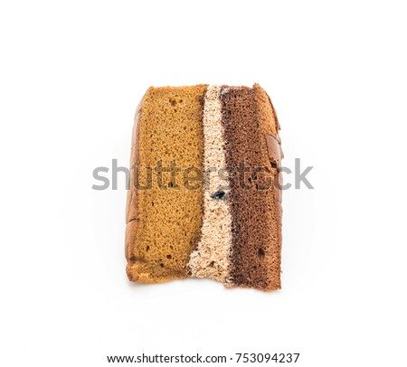 chocolate and coffee chiffon cake isolated on white background #753094237