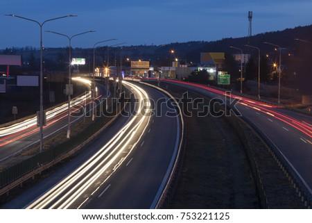 entrance to the city at night, Banska Bystrica, Slovakia #753221125
