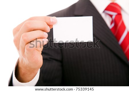 Hand of businessman offering businesscard on white background