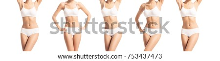 Perfect body of slim, fit and sporty woman in underwear isolated on white. Set collection.
