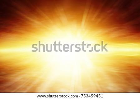 Sun rays in bright sky #753459451