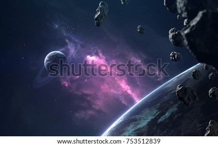 Planets and clouds of star dust . Deep space image, science fiction fantasy in high resolution ideal for wallpaper and print. Elements of this image furnished by NASA #753512839
