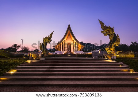 twilight landscape full resolotion white balance measure in thailand is a beautiful architecture #753609136