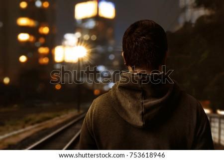 Man walking alone #753618946