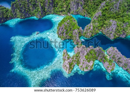 Coron, Palawan, Philippines, aerial view of beautiful lagoons and limestone cliffs. #753626089