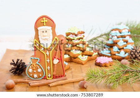 Cookie St. Nicholas. Christmas trees Cookies. Spiced shortcrust biscuit, traditionally baked before St Nicholas' feast in the Ukraine, Netherlands, Belgium and France and around Christmas in Germany. #753807289