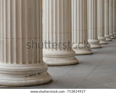 Vintage Old Justice Courthouse Column. Royalty-Free Stock Photo #753814927