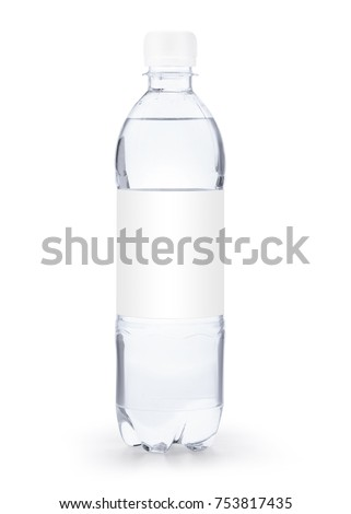 Small transparent plastic bottle with white cap and white blank label isolated on white background including clipping path and original shadow #753817435