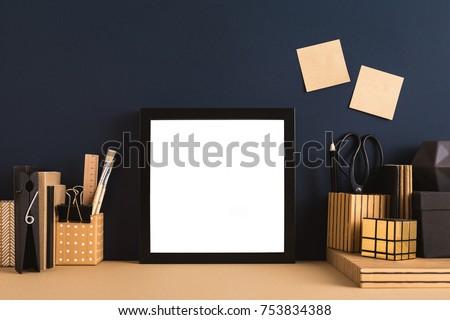 Black square photo frame, Mock up.