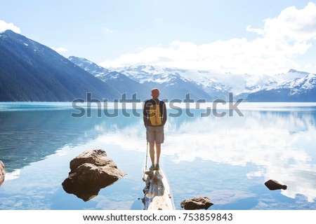 Hike to turquoise waters of picturesque Garibaldi Lake near Whistler, BC, Canada. Very popular hike destination in British Columbia. #753859843