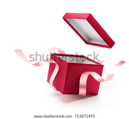 Red open gift box with ribbon isolated on white background Royalty-Free Stock Photo #753871495