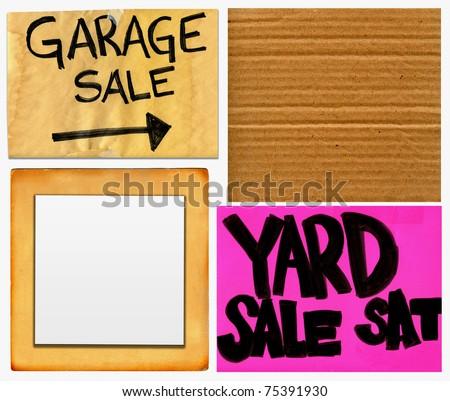 Garage And Yard Sale And Blank Cardboard Signs Set