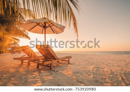 Summer beach background. Sand and sea and sky  #753920980