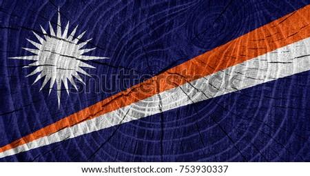 Marshall Islands flag on wood texture background #753930337