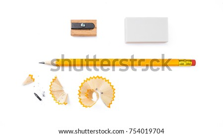 set of writing tools, pencil, eraser and sharpener isolated on white background Royalty-Free Stock Photo #754019704