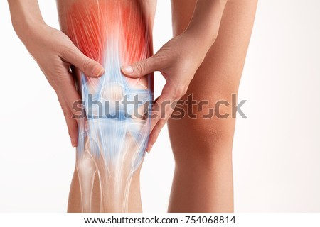Knees pain, hands touch the painful point. Royalty-Free Stock Photo #754068814
