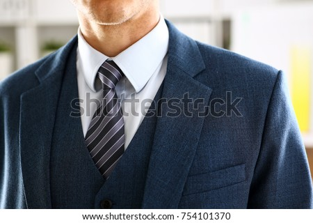 Male arm in blue suit set tie closeup. White collar management job serious move secretary student luxury formal interview executive agent marriage store corporate elegance employment preparation #754101370