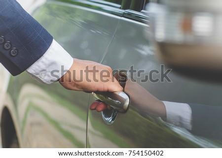 Businessman Handle Limousine Door Car #754150402