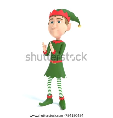 3d illustration of a Christmas Elf clapping
