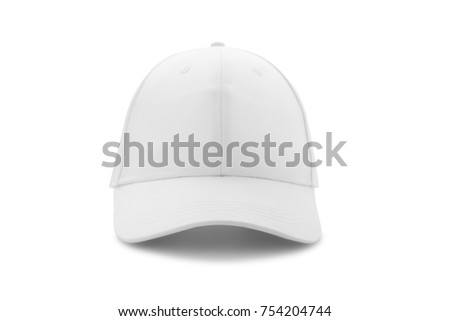 Baseball cap white templates, front views isolated on white background. Mock up. #754204744