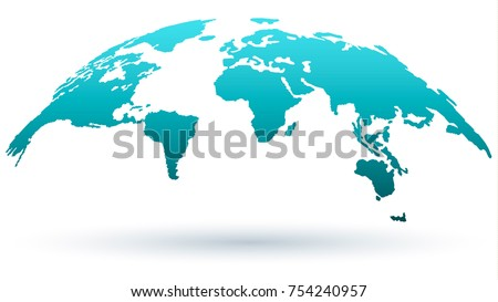 World Map Isolated on White Background in Bright Blue Color and Modern Flat Design. Vector Illustration