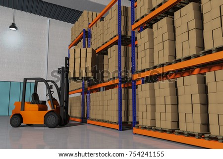 A forklift with a pallet full of packages (3d rendering) #754241155