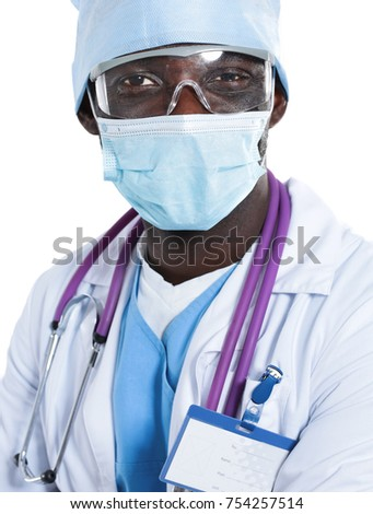 Portrait of a doctor man standing isolated on white background #754257514