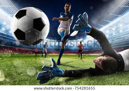Goalkeeper kicks the ball in the stadium Royalty-Free Stock Photo #754281655