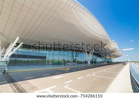 ZAGREB AIRPORT - 24 APRIL 2017: Exterior of arrivals terminal. #754286110