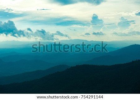 Blue Colorof Mountains Layers in Sunset Sky, Chiang mai , Thailand #754291144