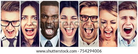 Group of angry people screaming #754294006