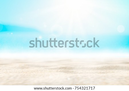 Blur tropical beach with bokeh sun light wave abstract background. Copy space of outdoor summer vacation and travel adventure concept. Vintage tone filter effect color style. #754321717