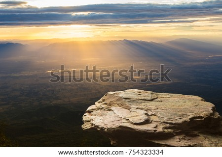 Standing empty on top of a mountain view, Blank space cliff edge with mountain on clouds blue sky Royalty-Free Stock Photo #754323334