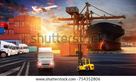 Logistics and transportation of Container Cargo ship and Cargo plane with working crane bridge in shipyard at sunrise, logistic import export and transport industry background #754352806