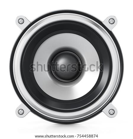 Generic audio speaker isolated on white background. 3D illustration. #754458874