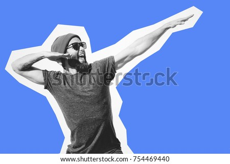 Crazy hipster guy emotions. Collage in magazine style . Fashion short. Hipster. joyful emotions Royalty-Free Stock Photo #754469440