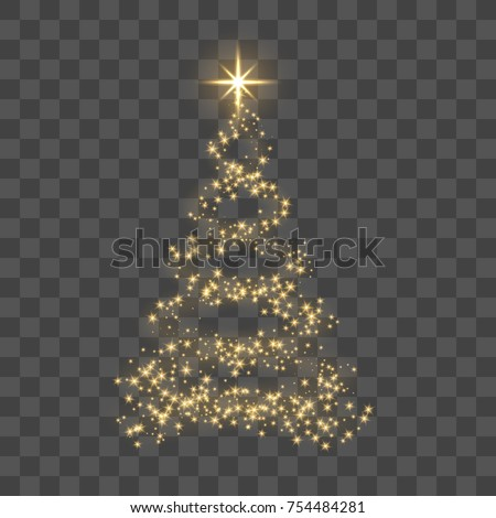 Christmas tree on transparent background. Gold Christmas tree as symbol of Happy New Year, Merry Christmas holiday celebration. Golden light decoration. Bright shiny design Vector illustration #754484281