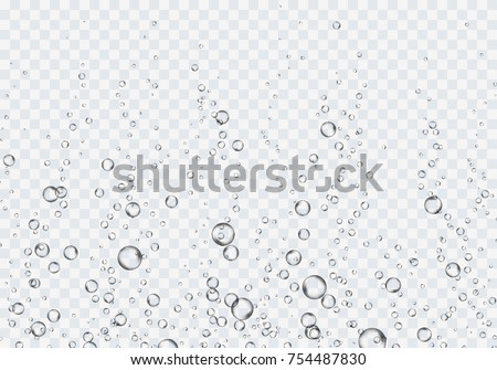 Bubbles underwater texture isolated on transparent background. Vector fizzy air, gas or clean oxygen bubbles under sea water. Realistic effervescent champagne drink, soda effect for your design #754487830