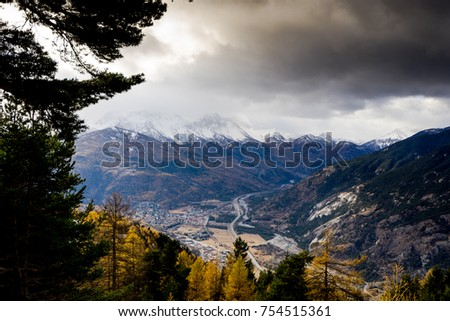 Mountain panorama in winter Val di Susa Piedmont italy #754515361