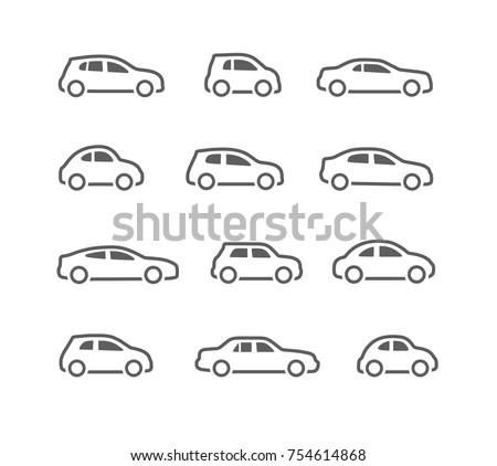 car icons set Royalty-Free Stock Photo #754614868