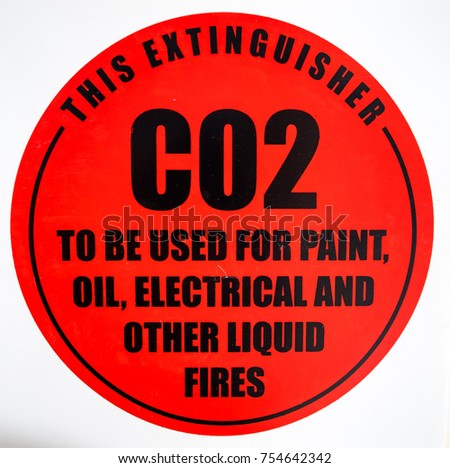 CO2 fire extinguisher wall sign #754642342