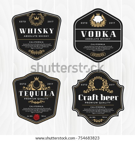 Classic vintage frame for labels, banner and other design. Suitable for whiskey, beer and premium product. Royalty-Free Stock Photo #754683823