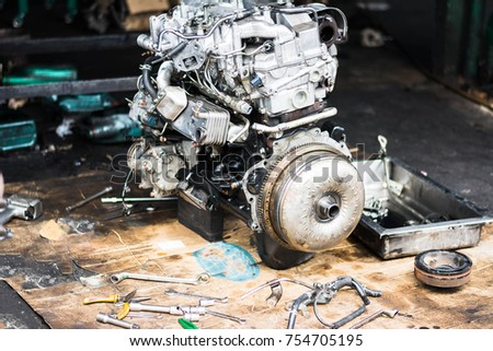 Car engine, Remove and assemble the engine, Repair concept. #754705195