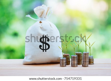 Money saving and money bag with coin stack growing business. #754719331