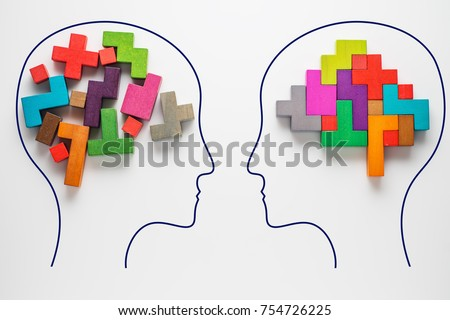 The concept of rational and irrational thinking of two people. Heads of two people with colourful shapes of abstract brain for concept of idea and teamwork. Two people with different thinking.  #754726225