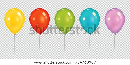 Set of realistic vector colorful balloons isolated on transparent background.