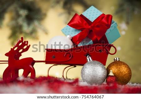 Christmas, Santa sleigh on gift box background
