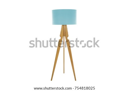 Decorative tripos standing light / FLOOR LAMP / LAMPSHADE isolated on white #754818025