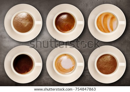 cup of coffee on wall background #754847863
