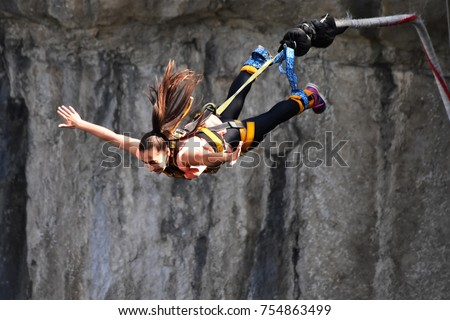 Bungee jumps, extreme and fun sport.  #754863499